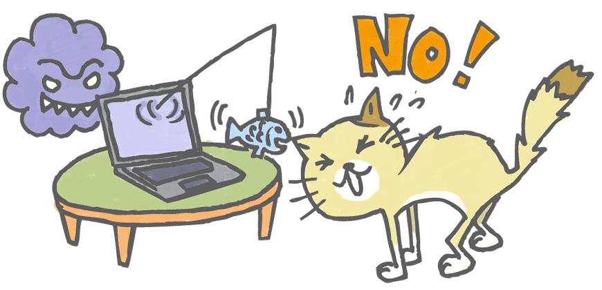 釣られる猫イラスト