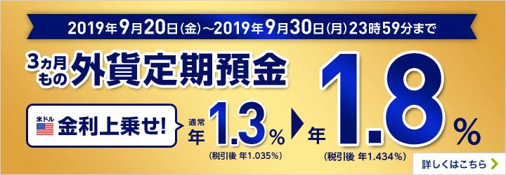 2019年9月20日(金)~2019年9月30日(月)23時59分まで 3ヵ月もの外貨定期預金 米ドル 金利上乗せ! 通常年1.3%(税引後 年1.035%)→年1.8%(税引後 年1.434%)詳しくはこちら